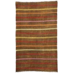 Vintage Turkish Striped Kilim Area Rug with Bohemian Tribal Style