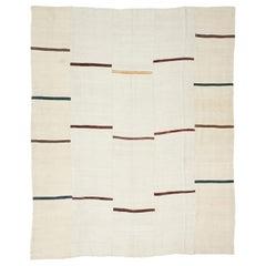 Vintage Turkish Striped Kilim Area Rug with Modernist Style