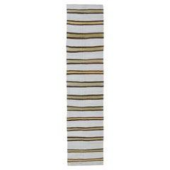 Vintage Turkish Striped Kilim Flat-Weave Runner in White, Yellow, Green, Brown