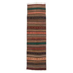 Vintage Turkish Striped Kilim Gallery Rug with Modern Cabin Style