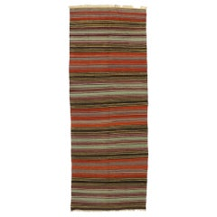 Vintage Turkish Striped Kilim Rug
