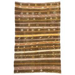 Vintage Turkish Striped Kilim Rug with Bohemian Southwestern Desert Style