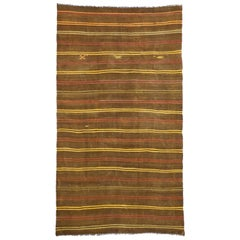 Vintage Turkish Striped Kilim Rug with Bohemian Tribal Style, Flat-Weave Rug