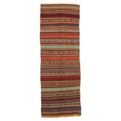 Vintage Turkish Striped Kilim Rug with Boho Chic Tribal Style