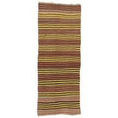 Vintage Turkish Striped Kilim Rug with Mid-Century Modern Style