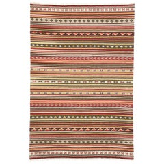 Vintage Turkish Striped Kilim Rug with Modern Cabin Style, Flat-weave Kilim Rug