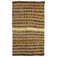 Vintage Turkish Striped Kilim Rug with Modern Cabin Style, Flat-Weave Rug