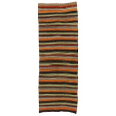Vintage Turkish Striped Kilim Rug with Modern Cabin Style