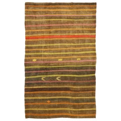 Vintage Turkish Striped Kilim Rug with Modern Cabin Tribal Style, Flat-Weave Rug