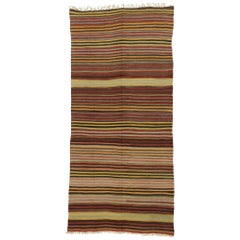 Vintage Turkish Striped Kilim Rug with Modern Rustic Cabin Style