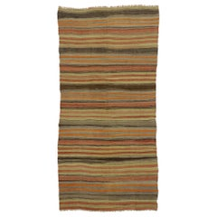 Vintage Turkish Striped Kilim Rug with Modern Rustic Style
