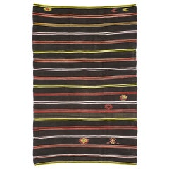 Vintage Turkish Striped Kilim Rug with Tribal Bohemian Style, Flat-Weave Rug