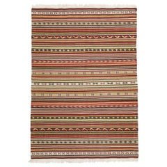 Vintage Turkish Striped Kilim Rug with Tribal Style, Flat-Weave Rug with Stripes