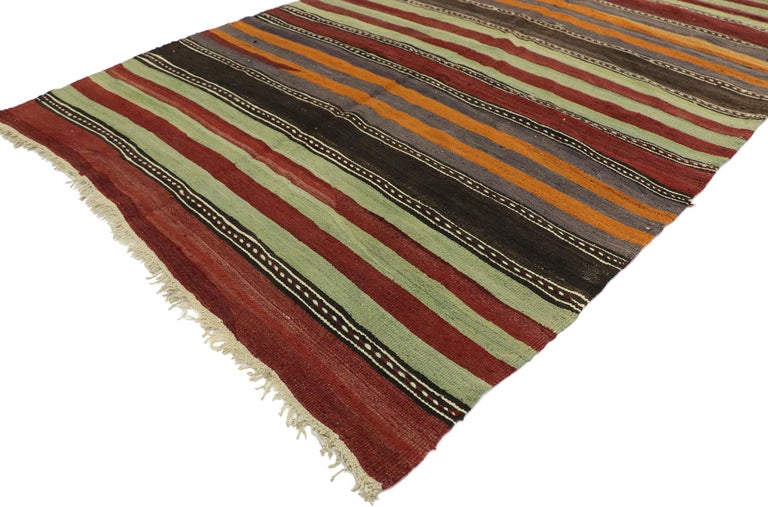 Hand-Woven Vintage Turkish Striped Kilim Runner with Modern Cabin Style For Sale