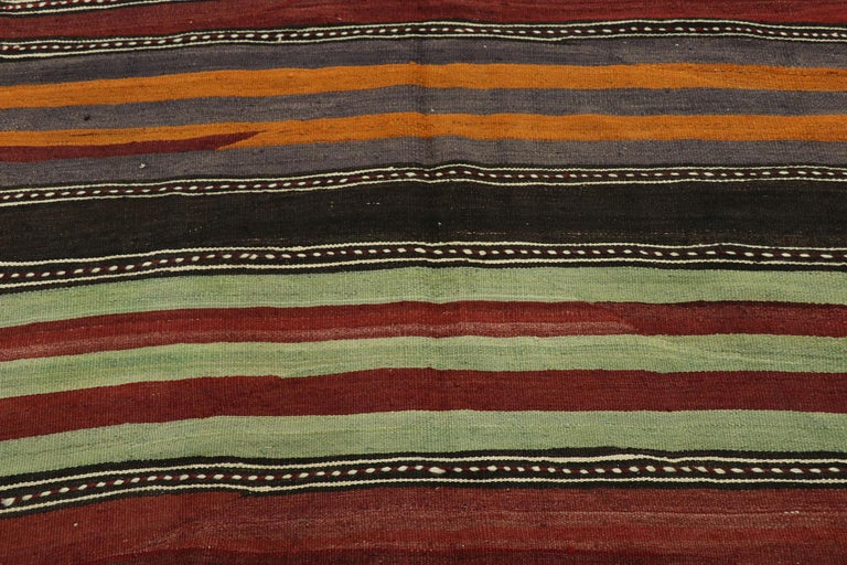 20th Century Vintage Turkish Striped Kilim Runner with Modern Cabin Style For Sale