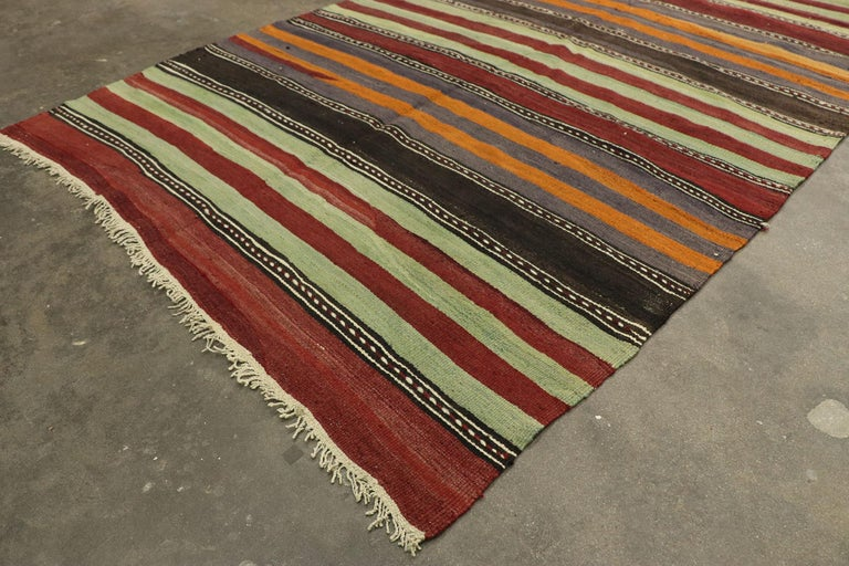 Vintage Turkish Striped Kilim Runner with Modern Cabin Style For Sale 1