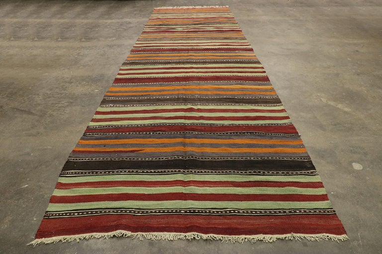 Vintage Turkish Striped Kilim Runner with Modern Cabin Style For Sale 2