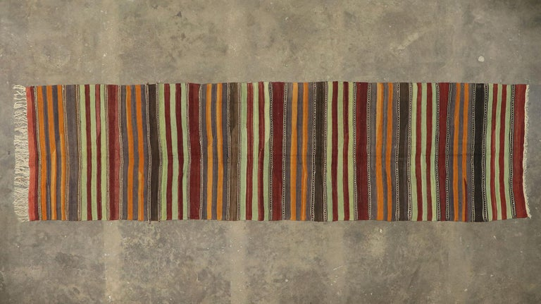 Vintage Turkish Striped Kilim Runner with Modern Cabin Style For Sale 3
