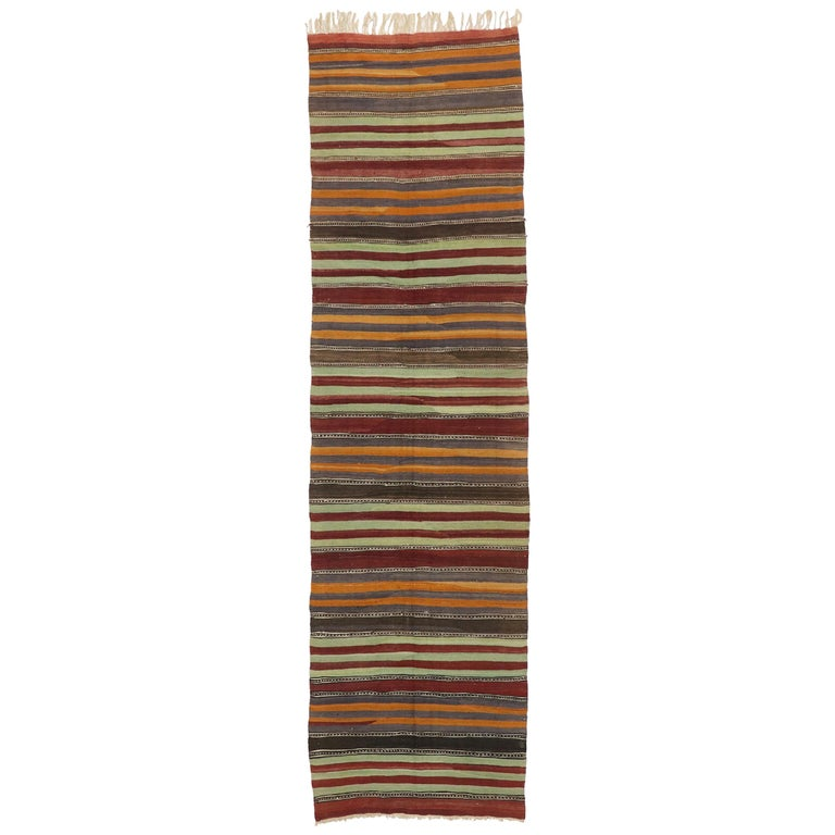 Vintage Turkish Striped Kilim Runner with Modern Cabin Style For Sale
