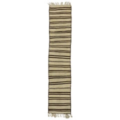 Vintage Turkish Striped Kilim Runner with Modern Style