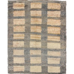 Vintage Turkish Tulu Carpet with Sand Rectangles with Gray Outlines