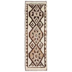 Vintage Turkish Tulu Gallery Rug with Tribal Graphic Design in Dark Brown
