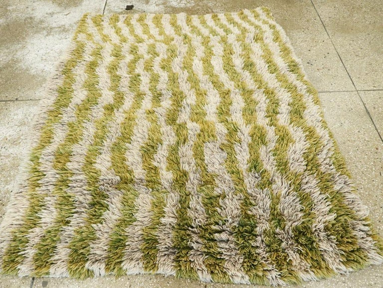 Hand-Knotted Midcentury Handmade Turkish Folk Shag Rug In Chartreuse Green and Ivory For Sale