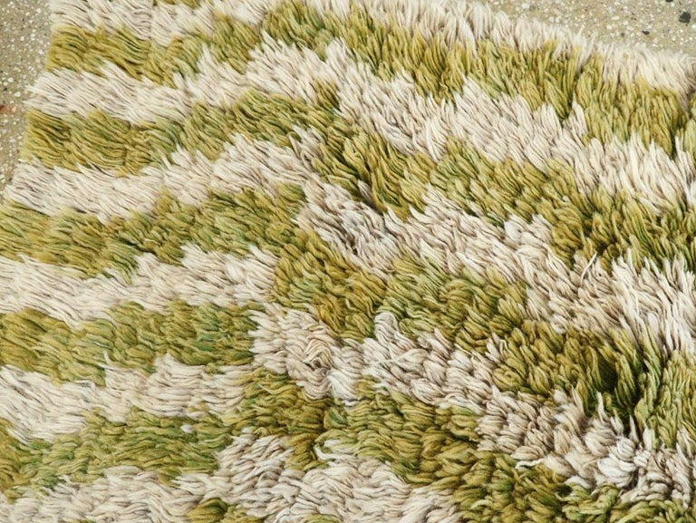 20th Century Midcentury Handmade Turkish Folk Shag Rug In Chartreuse Green and Ivory For Sale