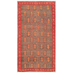 Vintage Turkish Tulu Rug with a Modern Design in Gray Background & Red Border
