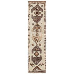 Vintage Turkish Tulu Runner with Bold Tribal Design in Brown, Cream