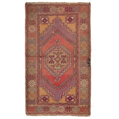 Vintage Turkish Village Rug, One of a Kind Hand Knotted Wool Carpet