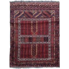 Vintage Turkmen Afghan Hatchlou Design Rug