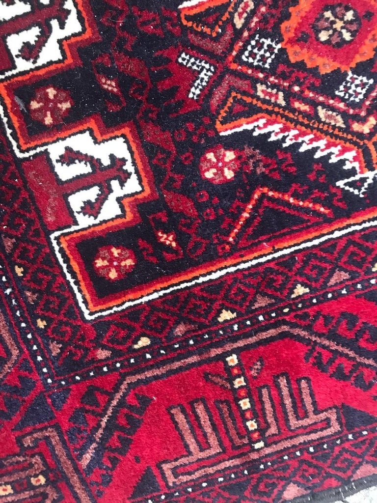 Hand-Knotted Vintage Turkmen Baluch Afghan Rug For Sale