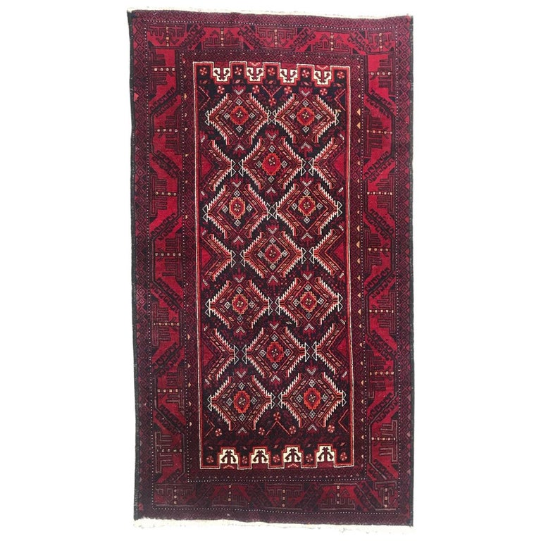 Vintage Turkmen Baluch Afghan Rug For Sale