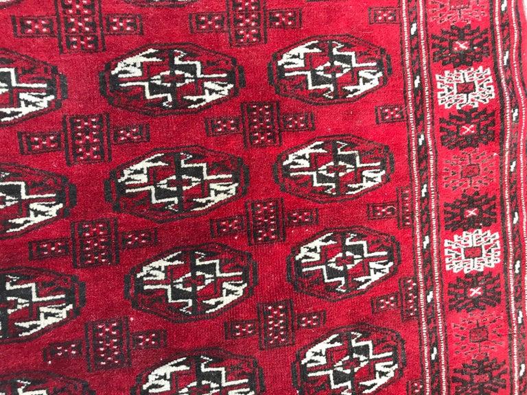 Hand-Knotted Vintage Turkmen Boukhara Rug For Sale