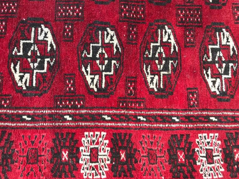 Wool Vintage Turkmen Boukhara Rug For Sale