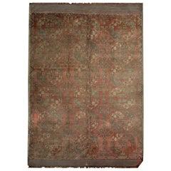 Vintage Turkmen Rug, Handwoven Wool Carpet Rust Area Rug