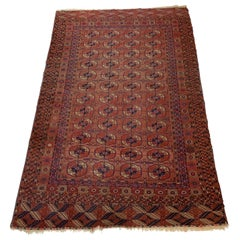 Vintage Turkmen Rug with Modern Geometric Tribal Style, Tekke Rug