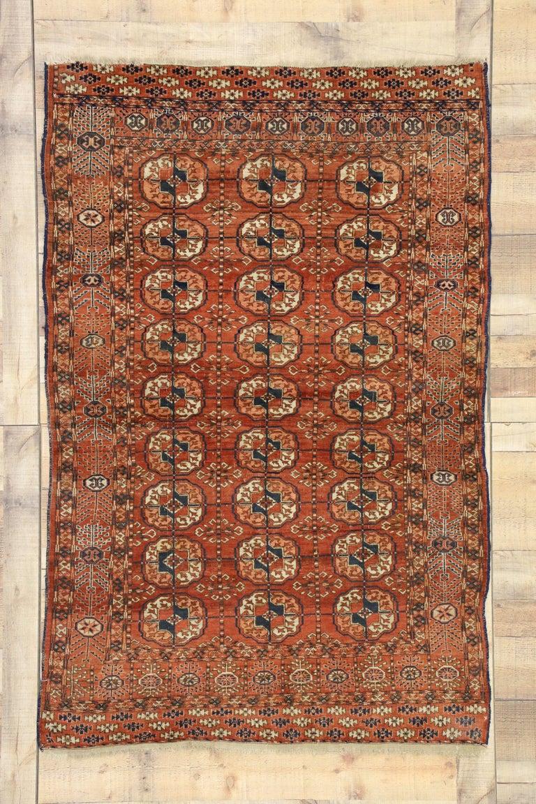 Vintage Turkmen Rug With Modern Tribal Style Tekke Accent Rug Turkoman Rug For Sale At 1stdibs