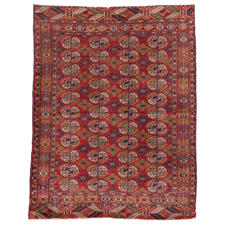 Vintage Turkmen Rug With Modern Tribal Style, Tekke Accent