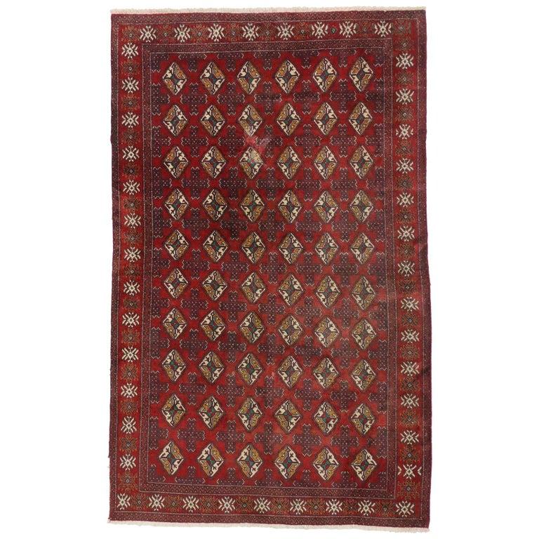 Vintage Turkmen Rug With Modern Tribal Style, Tekke Accent
