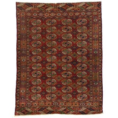 Vintage Turkmen Rug with Modern Tribal Style, Tekke Accent Rug, Turkoman Rug