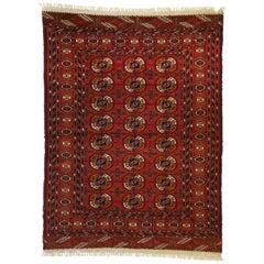Vintage Turkmen Rug with Modern Tribal Style, Tekke Accent Rug, Turkoman Rug