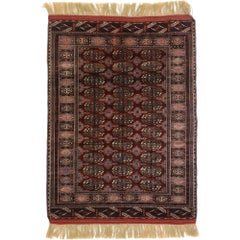 Vintage Turkmen Tekke Rug with Tribal Style, Tekke Accent Rug, Turkoman Rug