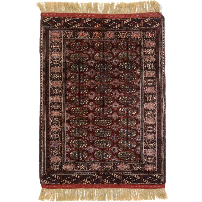 Antique Turkoman Rug: Vintage Turkmen Tekke Rug With Tribal Style, Tekke Accent