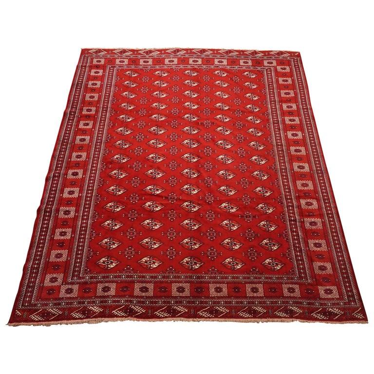 Antique Turkoman Rug: Vintage Turkoman Bukhara Rug, Circa 1970 For Sale At 1stdibs