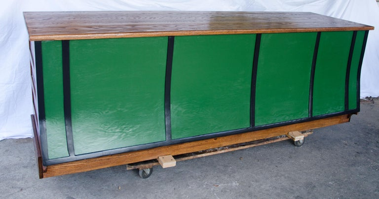 19th Century Vintage Turn of the Century Store Counter, Painted Front For Sale