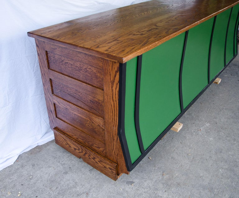 Iron Vintage Turn of the Century Store Counter, Painted Front For Sale