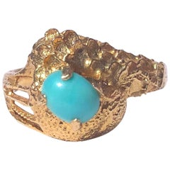 Vintage Turquoise and 18 Carat Gold Ring