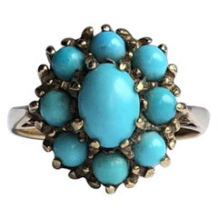 Vintage Turquoise and 9 Carat Gold Cocktail Ring